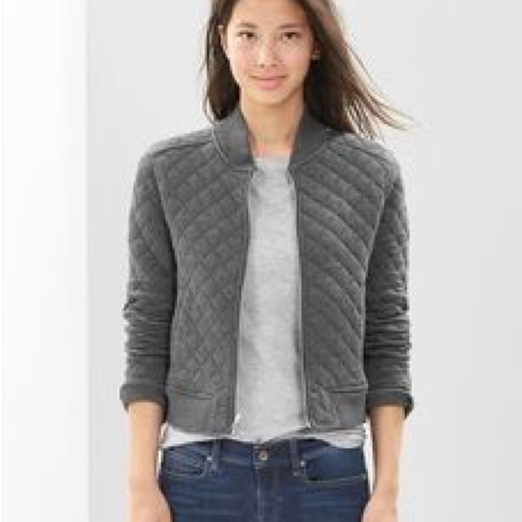 atelier max Jackets & Blazers - ATELIER MAX • Quilted Heather Gray Bomber Jacket